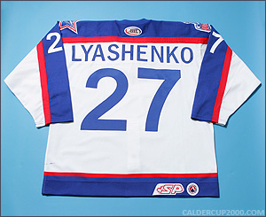 2002-2003 game worn Roman Lyashenko Hartford Wolf Pack jersey