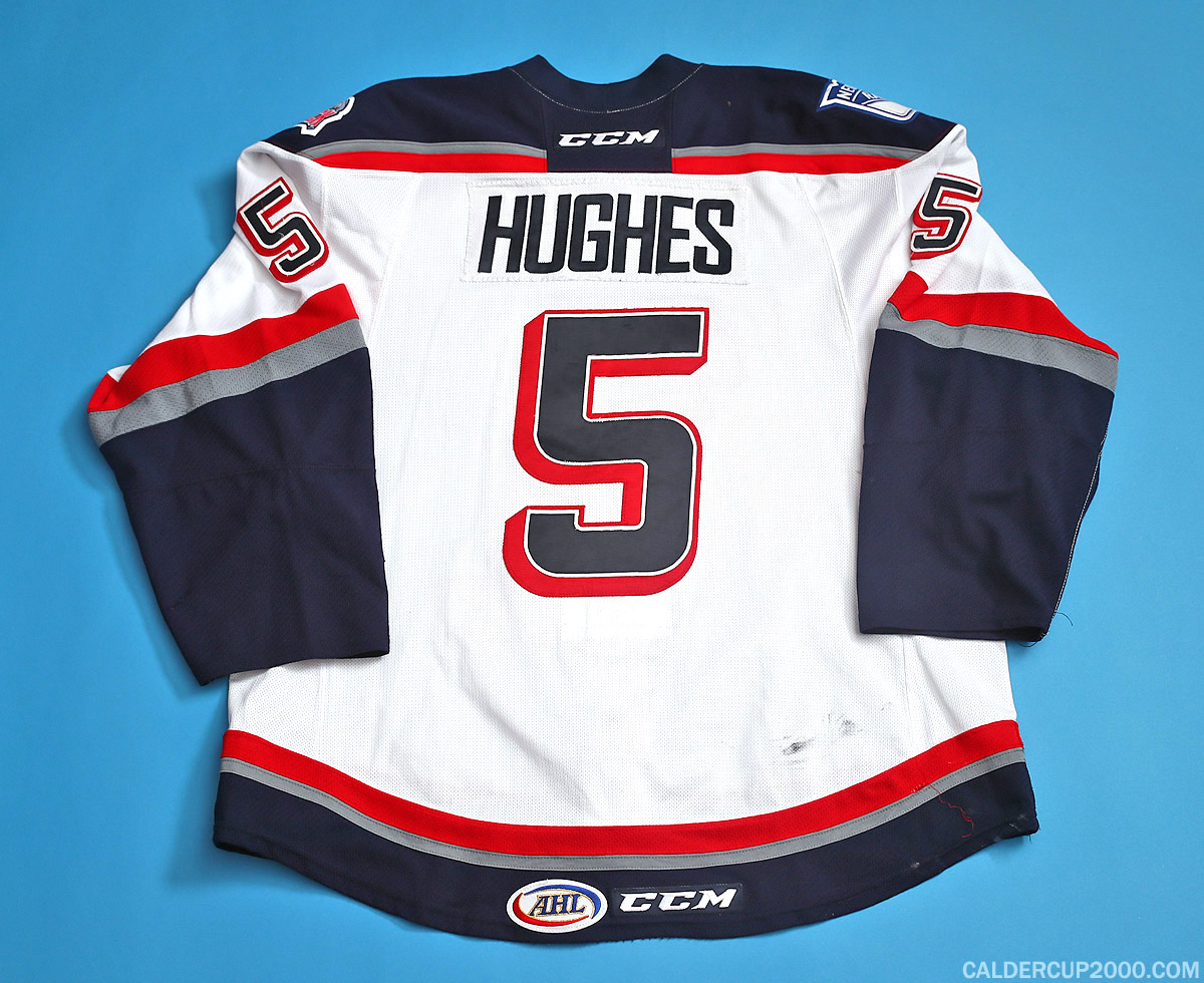 2014-2015 game worn Tommy Hughes Hartford Wolf Pack jersey