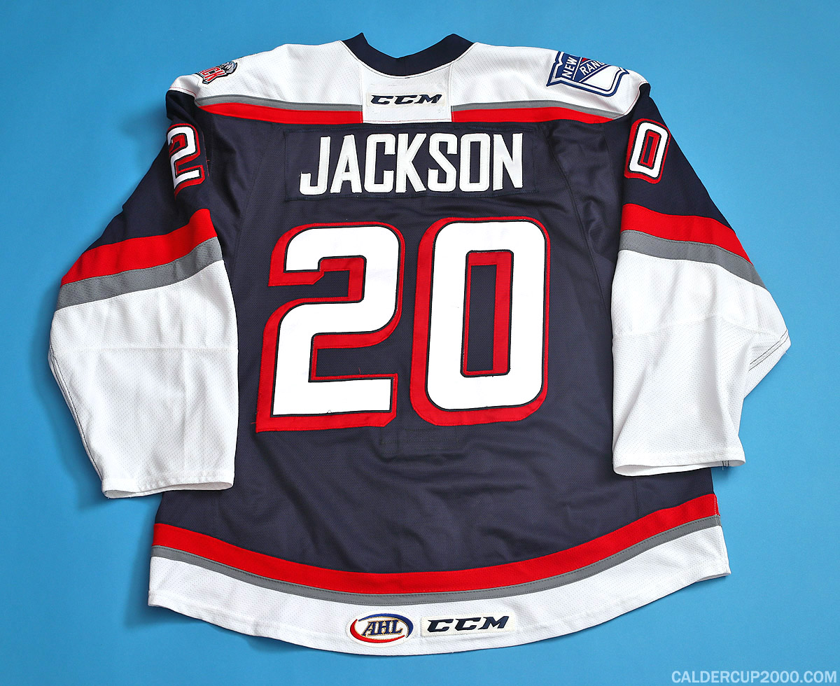 2014-2015 game worn Dallas Jackson Hartford Wolf Pack jersey
