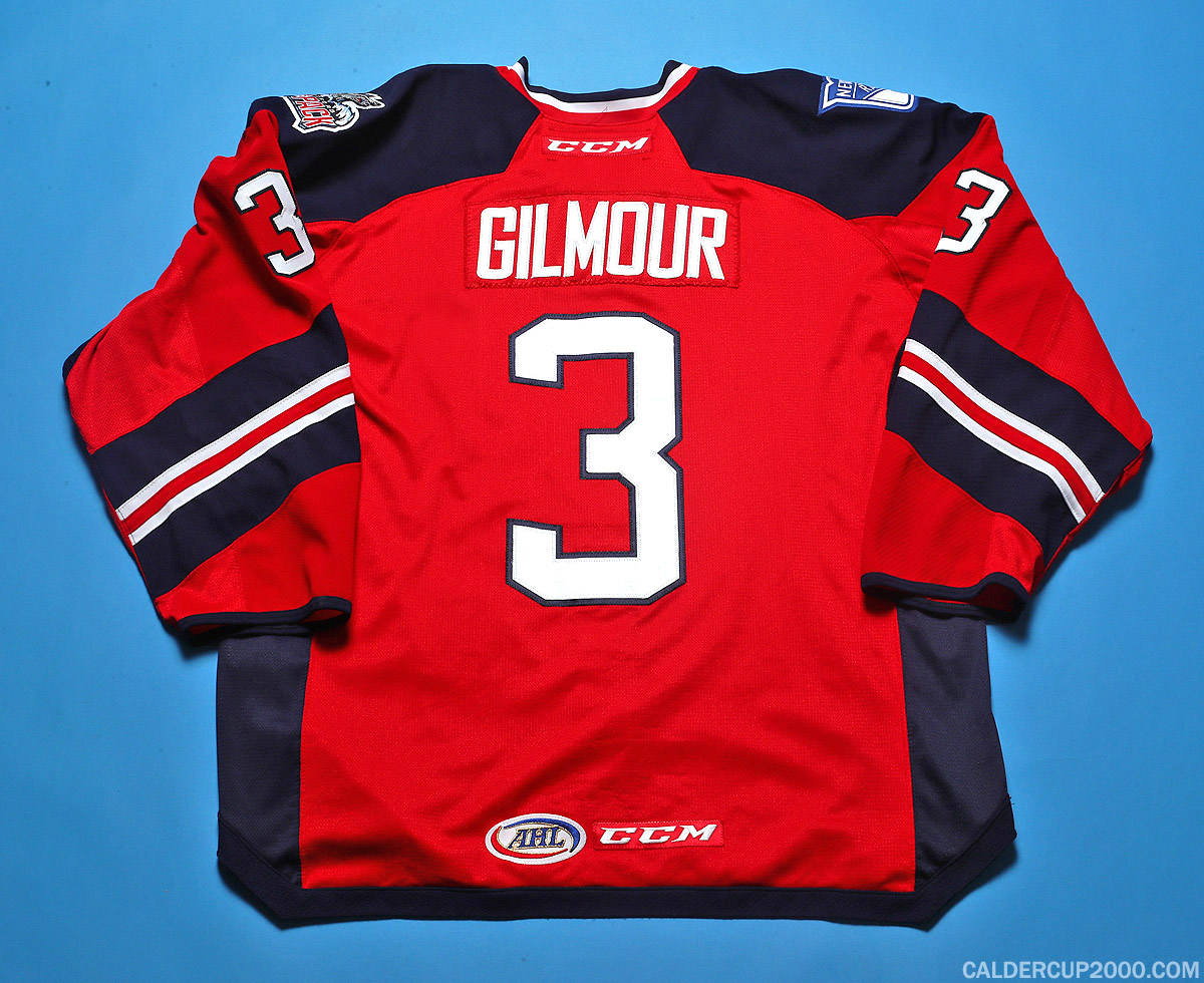 2016-2017 game worn John Gilmour Hartford Wolf Pack jersey