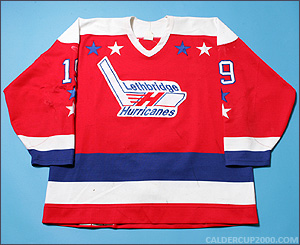 1994-1995 game worn Brad Mehalko Lethbridge Hurricanes jersey
