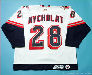 2002-2003 game worn Lawrence Nycholat Hartford Wolf Pack jersey