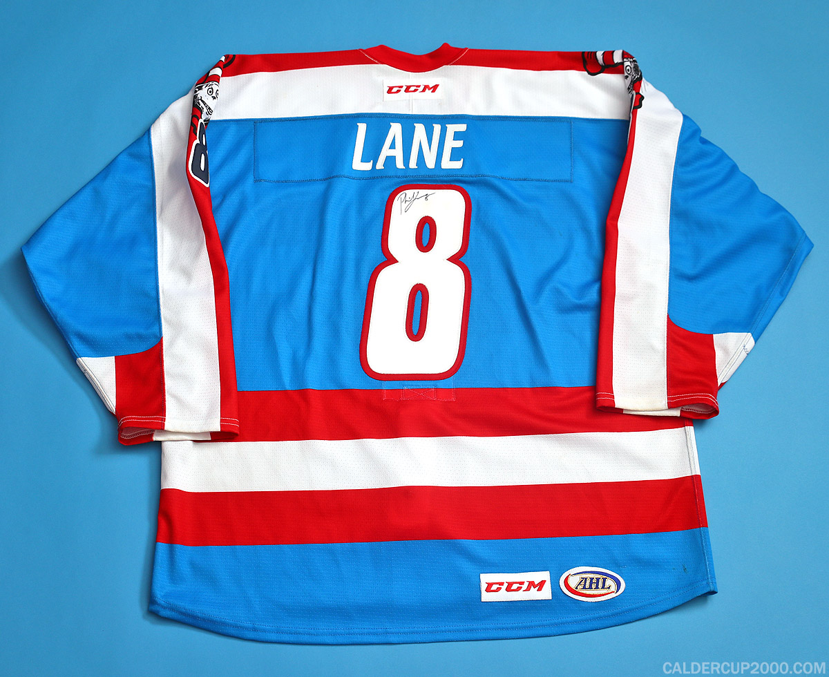 2015-2016 game worn Phil Lane Springfield Falcons jersey