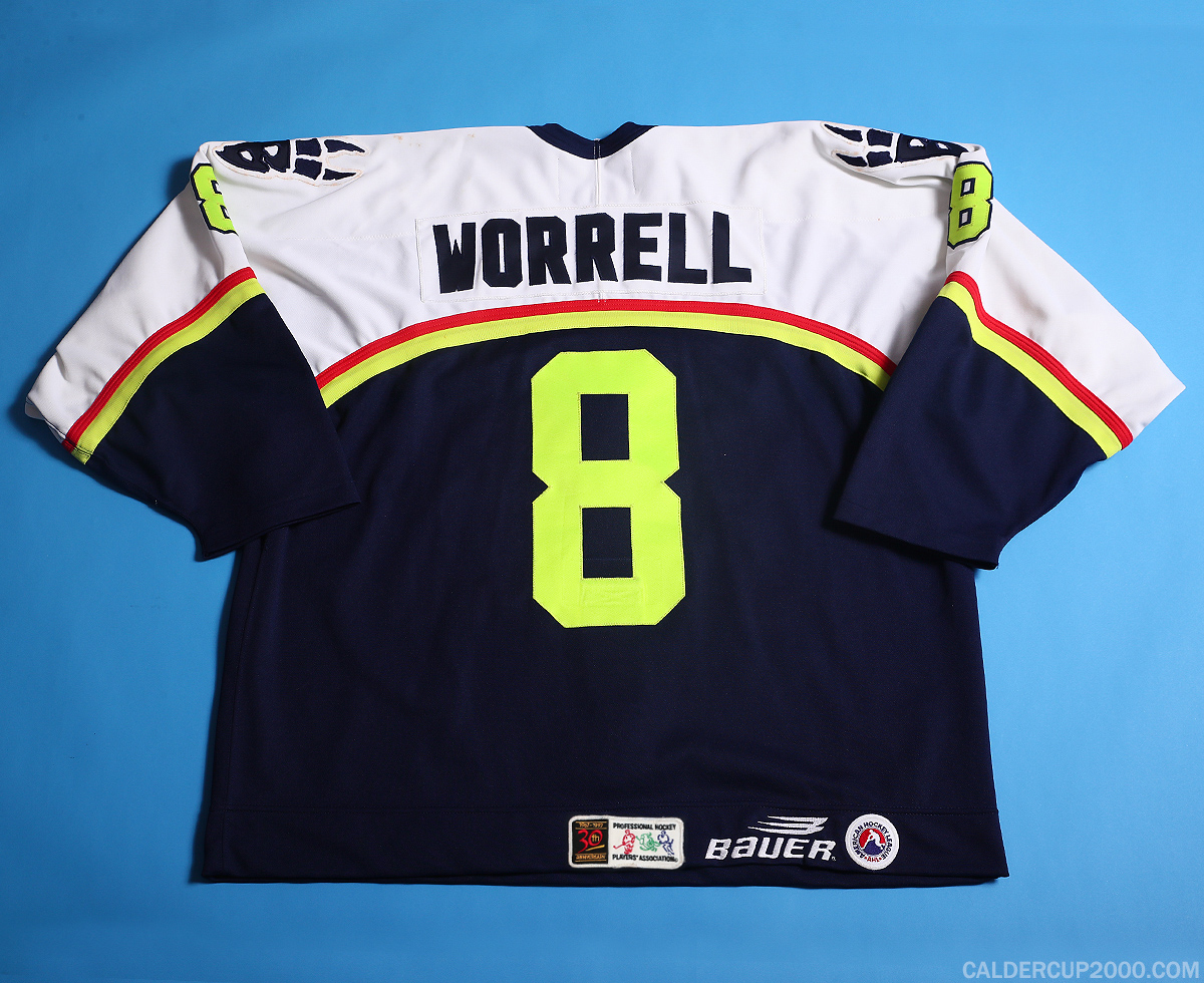 1997-1998 game worn Peter Worrell Beast of New Haven jersey