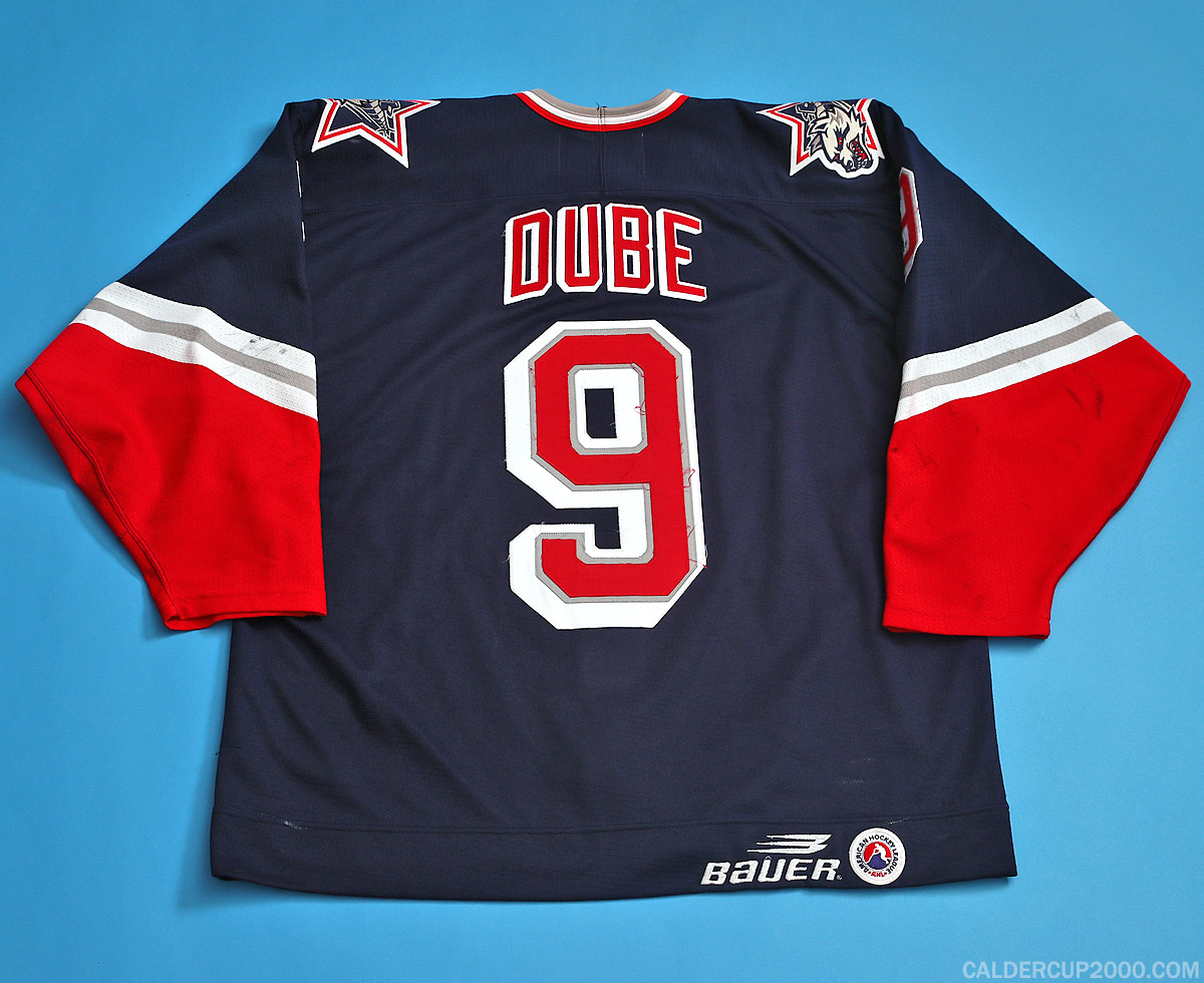1997-1998 game worn Christian Dube Hartford Wolf Pack jersey