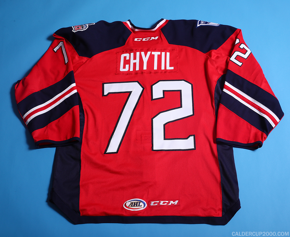 2017-2018 game worn Filip Chytil Hartford Wolf Pack jersey