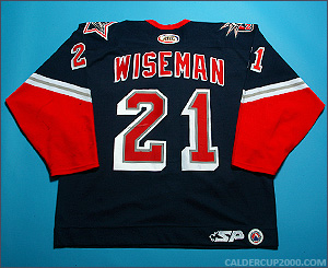 2003-2004 game worn Chad Wiseman Hartford Wolf Pack jersey