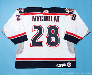 2003-2004 game worn Lawrence Nycholat Hartford Wolf Pack jersey