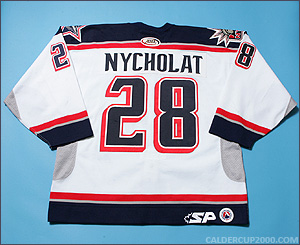 2004-2005 game worn Lawrence Nycholat Hartford Wolf Pack jersey