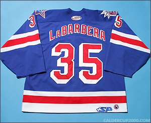 2004-2005 game worn Jason LaBarbera Hartford Wolf Pack jersey