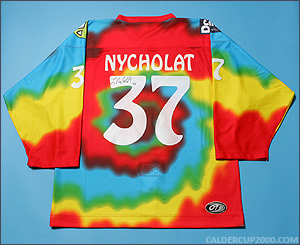 2000-2001 game worn Lawrence Nycholat Cleveland Lumberjacks jersey