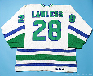 1985-1986 game worn Paul Lawless Hartford Whalers jersey